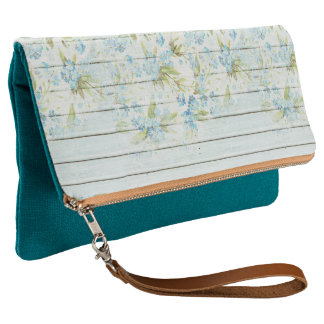 Teal Blue Boho Shabby Chic Floral Clutch