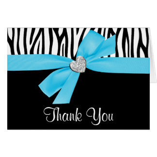 Teal Blue Bow Diamond Heart Zebra Thank You Card