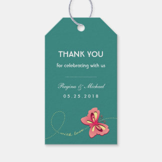Teal Blue Butterfly Wedding Party Favor Gift Tag