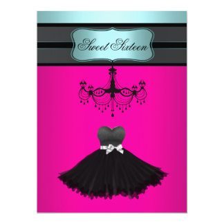 """Teal Blue Chandelier Sweet Sixteen Birthday Party 6.5"""" X 8.75"""" Invitation Card"""
