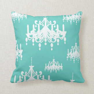 Teal Blue Chandeliers Decorative Throw Pillow