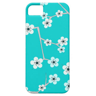 Teal Blue Cherry Blossom Print iPhone 5 Case