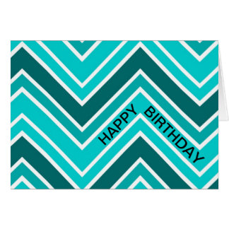 Teal Blue Chervon Pattern Zig Zag Happy Birthday Card