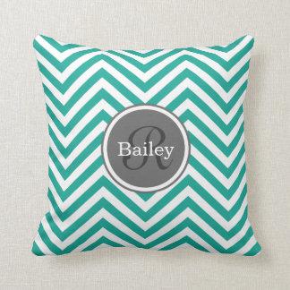 Teal Blue Chevron Monogram Throw Pillow