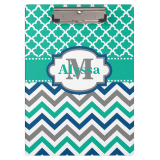 Teal Blue Chevron Quatrefoil Personalized Clipboard
