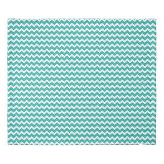 Teal Blue Chevron Stripes Duvet Cover