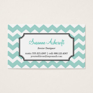 Teal blue chevron zigzag pattern stylish personal business card