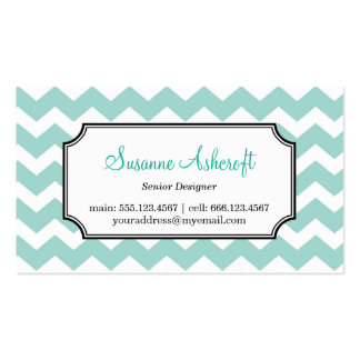 Teal blue chevron zigzag pattern stylish personal business cards