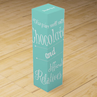 Teal Blue Chocolate & Wine Tasting Party Wine Box