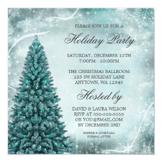 "Teal Blue Christmas Tree Holiday Party 5.25"" Square Invitation Card"