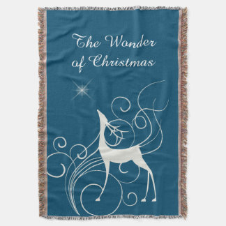 Teal Blue Christmas Wonder Silver Reindeer Throw Blanket