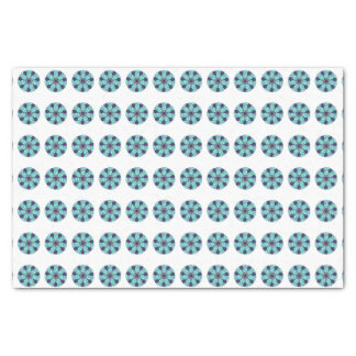 Teal Blue Circular Geometric Design Tissue Paper