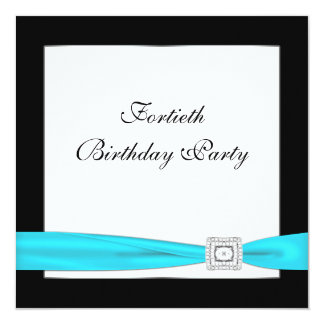 """Teal Blue Classy Black 40th Birthday Party 5.25"""" Square Invitation Card"""