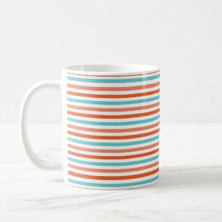 Teal Blue, Coral Orange Stripes, Striped Coffee Mug