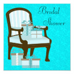 Teal Blue Damask Chair Gifts Bridal Shower Custom Invite
