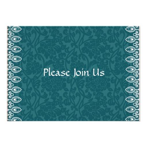 Teal Blue Damask Formal Invitation