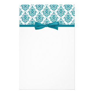 Teal Blue Damask Ribbon Bow Stationery