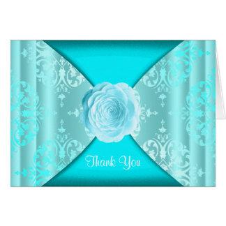 Teal Blue Damask Rose Card