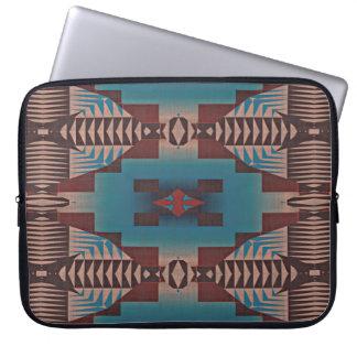 Teal Blue Dark Burgundy Red Tribal Mosaic Pattern Laptop Sleeve