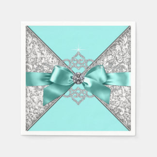 Teal Blue Diamond Bow Paper Napkins