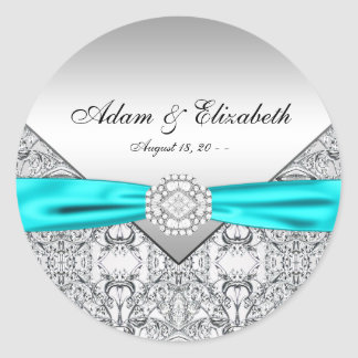 Teal Blue Diamond Wedding Round Sticker