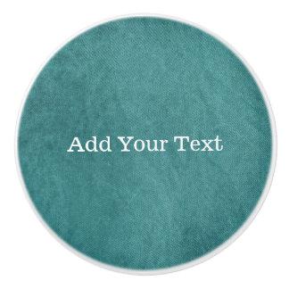 Teal Blue Digital Fabric Texture by Shirley Taylor Ceramic Knob