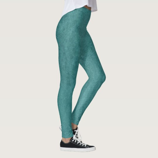 Teal Blue Digital Fabric Texture by Shirley Taylor Leggings