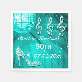 Teal Blue Disco Ball and Sparkle Heels 50th Disposable Napkins