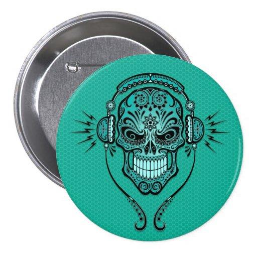 Teal Blue DJ Sugar Skull Button