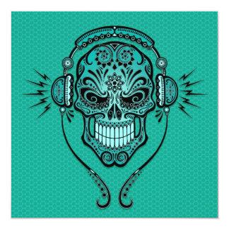 Teal Blue DJ Sugar Skull Custom Invitations