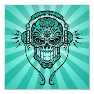 "Teal Blue DJ Sugar Skull with Rays of Light 5.25"" Square Invitation Card"