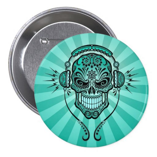 Teal Blue DJ Sugar Skull with Rays of Light Button