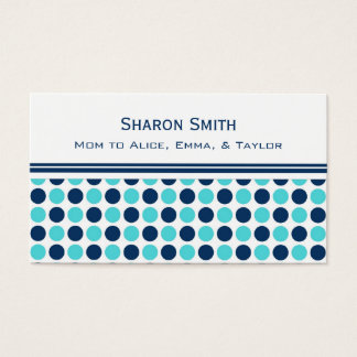 Teal Blue Dots Pattern Mom Calling Cards