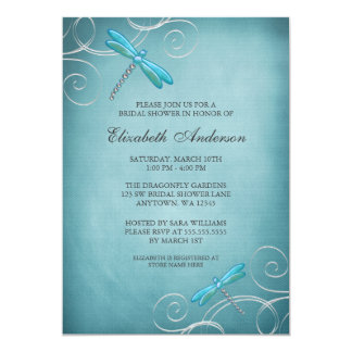 Teal Blue Dragonfly Swirls Bridal Shower 5x7 Paper Invitation Card