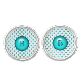 Teal Blue Droplet/Button Dot Design Cufflinks