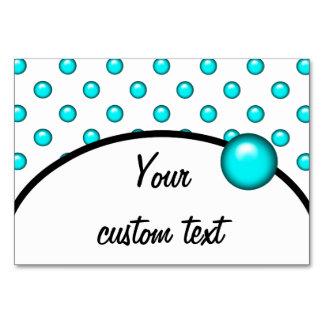 Teal Blue Droplet/Button Dot Design Table Cards