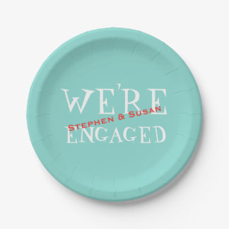 Teal Blue Engagement Crawfish Boil Party Plates