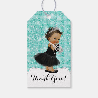 Teal Blue Ethnic Little Lady Baby Shower Gift Tags