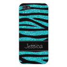 Teal Blue Faux Glitter Zebra Personalized Case For iPhone 5/5S