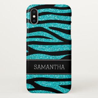 Teal Blue Faux Glitter Zebra Personalized iPhone X Case