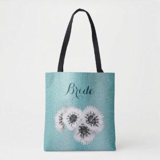 Teal Blue Floral Texture Bride Wedding Tote Bag
