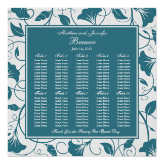 Teal Blue Floral Wedding Reception Seating Chart Poster