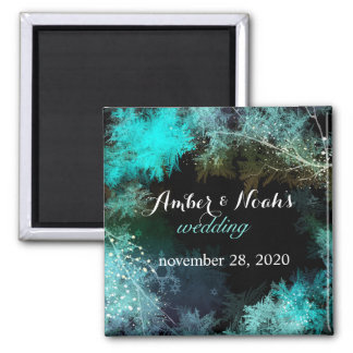 Teal Blue Forest Evening Wedding Save the Date Square Magnet
