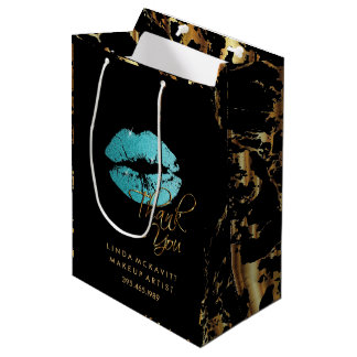 Teal Blue Glitter Lips and Gold Marble - Thank You Medium Gift Bag
