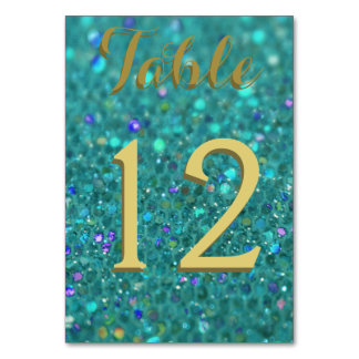 Teal Blue Glitter Table Cards