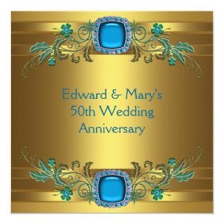 "Teal Blue Gold 50th Wedding Anniversary Party 5.25"" Square Invitation Card"