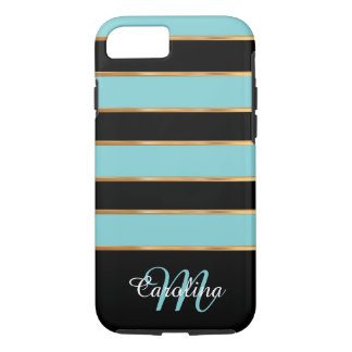 Teal Blue Gold and Black,  Name and Monogram iPhone 8/7 Case