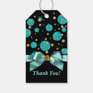 Teal Blue Gold Birthday Party Gift Tags