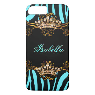 Teal Blue Gold Bronze Tiara Crown Zebra iPhone 8 Plus/7 Plus Case