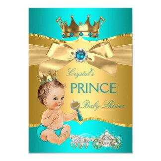 Teal Blue Gold Prince Baby Shower Brunette Boy Card